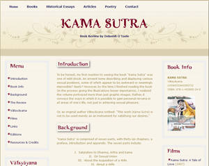 "Screenshot sample of ""Kama Sutra"" book review by Deborah O'Toole. Click on image to view larger size in a new window."
