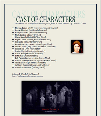 MIND SWEEPER: Cast of Characters. Click on image to view larger size in a new window.