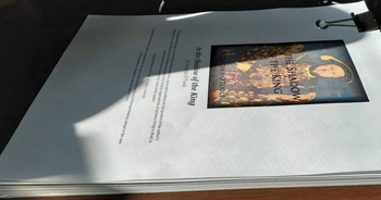 "Current manuscript for ""In the Shadow of the King"" by Deborah O'Toole. Click on image to view larger size in a new window."